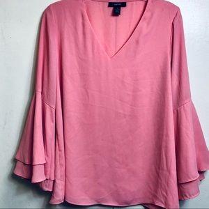 Alfani Sz 6 Blouse Women's Sleeve Ruffles Pink